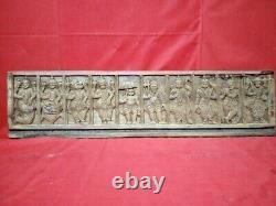 Antique Vishnu Dashavatar Wall Panel Hindu God Vintage Wood Statue Sculpture US