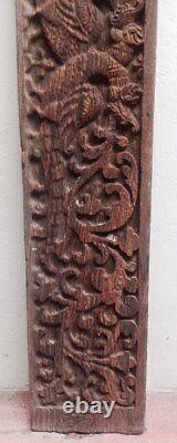 Antique Wooden Panel Wall Hanging Vintage Floral Dragon Handcarved Estate Decor