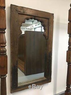 Antique/vintage wooden indian arched mirror