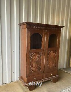 Attractive Vintage Carved Indian Chakra Cabinet in Solid Tropical Hard Wood