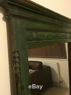 Authentic Indian Mirror Teak Carved Green Vintage Huge with Hindu Om Symbol Yoga