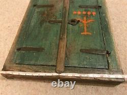 Authentic Indian Shuttered Window Frame Mirror Teak Green Distressed Vintage