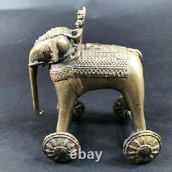 Cast Iron Indian Asian Elephant Pull Toy on Wheels Bronze Colored VTG Ancient