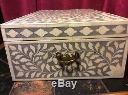 Chest Jewellery Bone Inlay Box Vintage Antique Decorative Wooden Desk 46 by 31cm