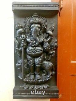 Ganesh Wooden Wall Panel Hindu Vintage Standing Ganesha Sculpture Statue Decor