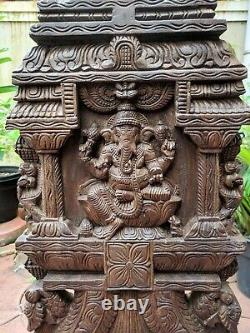 Ganesha Statue Kavadi Hindu Temple Gopuram Ganesh Sculpture Vintage Wall Panel