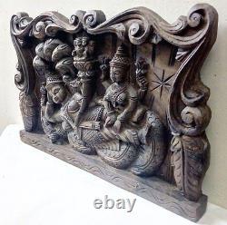 Handcarved Hindu God Vishnu Wall Panel Wooden Vintage Temple Sculpture Statue