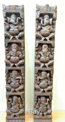Hindu Ganesha Wall Vertical Panel Vintage Sculpture Ganesh Wooden Diwali Gift