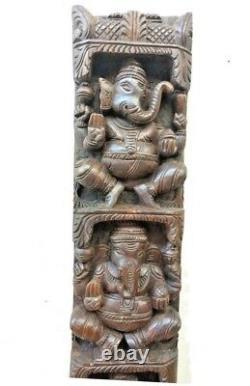 Hindu Ganesha Wall Vertical Panel Vintage Sculpture Ganesh Wooden Home Art Decor
