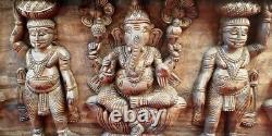 Hindu God Ganesh Lakshmi Saraswathy Vintage Wooden Temple Wall Panel Statue Rare
