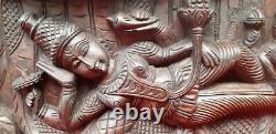 Hindu God Mahavishnu Hand Carved Wooden Vintage Wall Panel Sculpture Statue Gift