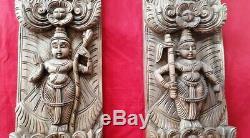 Hindu God Vishnu Dashavatar Temple Vintage Vertical Wooden Wall Panel Decor Rare