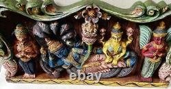 Hindu God Vishnu Vintage Wall Panel Wooden Statue Sculpture Handpainted panel