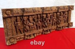 Hindu Wall Panel Ganesh Lakshmi Saraswathy Vintage Wooden Temple Art Collectible