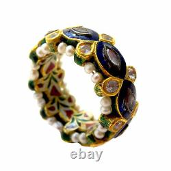 INDIAN Mughal DIAMOND Gold PEARL Enamel Antique/Vintage RING
