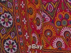 Indian Banjara Cloth sewn mirrors vintage wall hanging fabric quilt textile fine