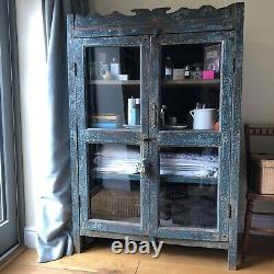Indian Glazed Glass Front Painted Cupboard Cabinet Armoire Vintage Antique