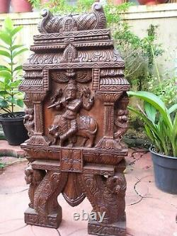 Krishna Statue Kavadi Hindu Temple Gopuram Wooden Sculpture Vintage Wall Panel