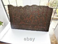 LARGE ANTIQUE VINTAGE INDIAN WOODEN TEXTILE COPPER PRINTING BLOCK collect only