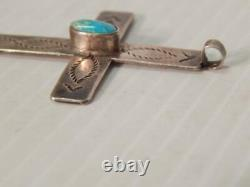 Large Antique Vintage Navajo Indian Cross Hand Stamped Turquoise Sterling Silver