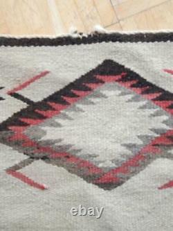 Large Antique Vintage Navajo Indian Rug Blanket Weaving Storm Pattern Waterbugs