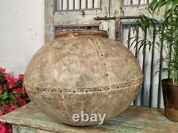 Large Antique Vintage Rustic Hand Beaten Riveted Indian Water Pot Garden Planter