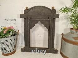 Large Gold Vintage Hand Made Authentic Indian Carved Jharokha Wall Mirror Frame