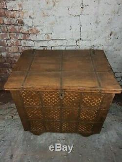 Large Vintage Authentic Indian Banded Wooden Dowry Marriage Chest Storage Trunk