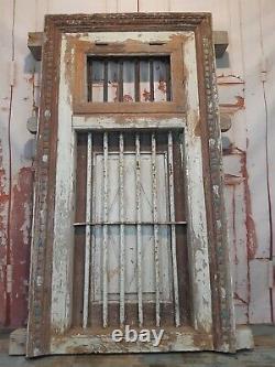 Large Vintage Authentic Indian Reclaimed Jali Window Frame Shutter Garden