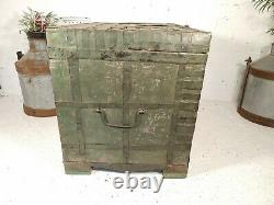 Large Vintage Green Rustic Indian Iron Banded Wooden Storage Chest Trunk TV Unit