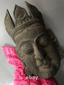 Large Vintage Indian Hand-carved Sacred Buddha Mask. Prince Siddhartha Gautama