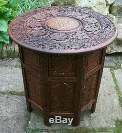 Large Vintage Octagonal Inlaid Folding Anglo/ Indian Side Table