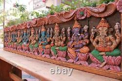 Musical Ganesh Wall Panel Vintage Ganesha Statue Wooden Wall Home Pooja Decor
