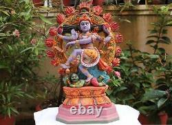 Nataraja Statue Dancing Shiva Antique Wooden Sculpture God Of Dance Idol Vintage