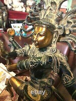 Natraj Brass Sculpture Shiva Statue Vintage Large Solid Hindu Spiritual 52cm 8kg