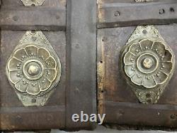 Old Vintage Rare Handmade Antique Brass, Iron Fitted Wooden Window Door / Gate