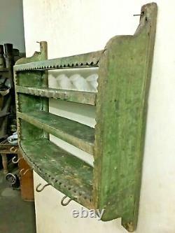 Old Vintage Wooden Kitchen Shelf, Rustic Wall Unit & Hook Display Spice Rack