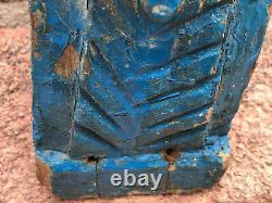 Pair Antique Vintage Large Indian Wooden Teak Horse Head Sculpture c1850 Blue