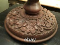 Pair Of Refurbished Antique Vintage Carved Indian Table Lamps