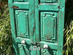 Pair Vintage Reclaimed Indian Wooden Panelled Art Deco Window Shutters Jade