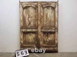 Pair of Antique Vintage Indian Worn Paint Wooden Shutters Doors (MILL-563)
