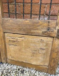 Pair of Original Antique Vintage Rustic Indian Jali Doors Wood & Metal Grills