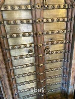 Pair of Original Antique Vintage Rustic Indian Jali Doors Wood & Polished Brass