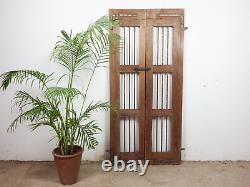 Pair of Vintage Rustic Indian Hardwood Garden Gate Doors (MILL-880/8) C8