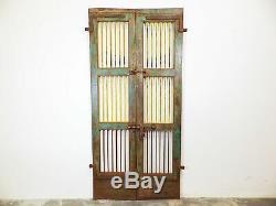 Pair of Vintage Rustic Indian Jali Windows Cabinet Garden Gate Doors (REF522)