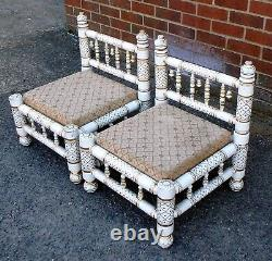 Pair vintage Indian painted gilt wood low nursing hall chairs bedside tables