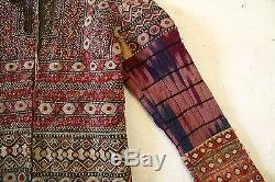 Patchwork Jacket of Vintage Mirror Work and Ikat of India