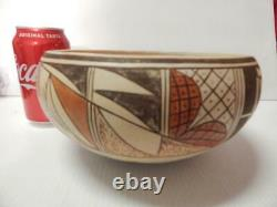 Pauline Setalla Lrg Antique Vintage Hopi Pueblo Indian Dough Bowl Pot Pottery