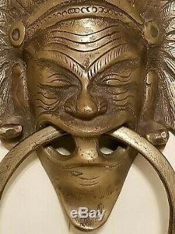 RARE Vintage Brass Door Knocker Tribal Headdress Indian Unique