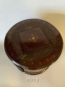 Round Oriental Antique Cabinet 6 Drawers Carvings freestanding solid VIntage
